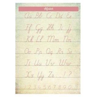 Nieuweschoolplaten Vintage Poster / Schoolplaat Alfabet roze