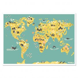 W:form Retro poster Wereldkaart Atlas