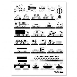 W:form Retro poster Voertuigen zwart-wit
