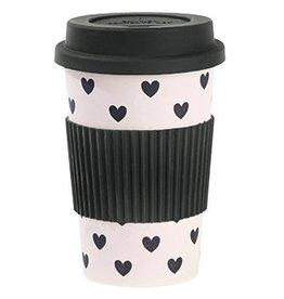 Miss Etoile travel mug roze met hartjes