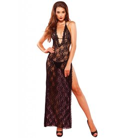 Deep V lace high slit