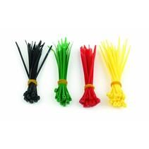 Zelfborgende nylon kabelbinders, 100 mm x 2,5 mm, 4 kleuren set, zak van 100 stuks