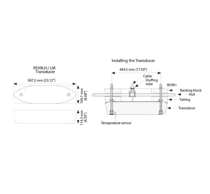 Xsonix R509LHW breedband diepte/temperatuur transducer