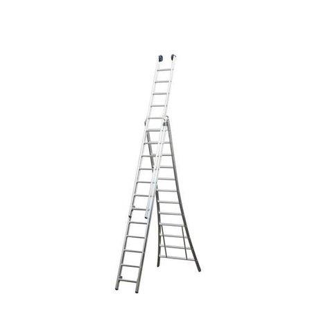 Driedelige ladder 3x8 Maxall uitgebogen blank