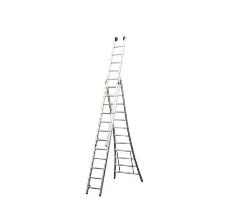 Driedelige ladder 3x9 Maxall uitgebogen blank