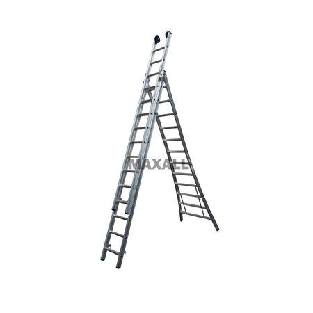 Driedelige ladder 3x12 Maxall uitgebogen blank