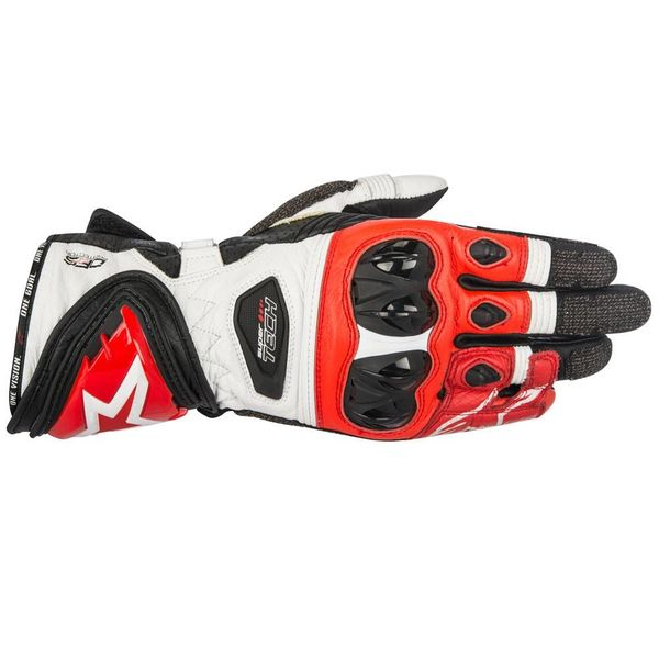 Alpinestars Supertech Leather Gloves - White/Red