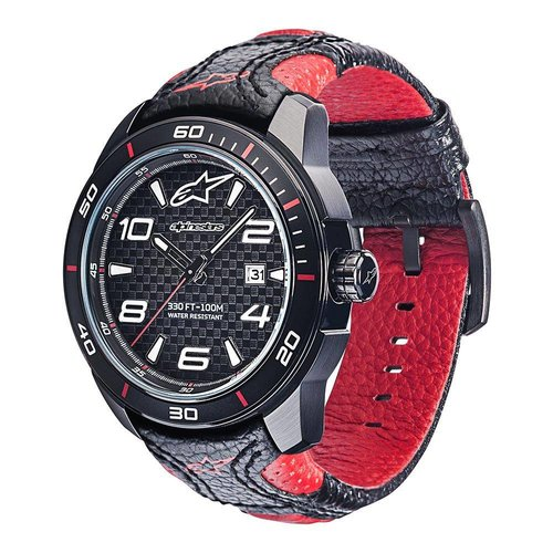 Alpinestars Tech Watch Racing Timer Black Red Leather Strap