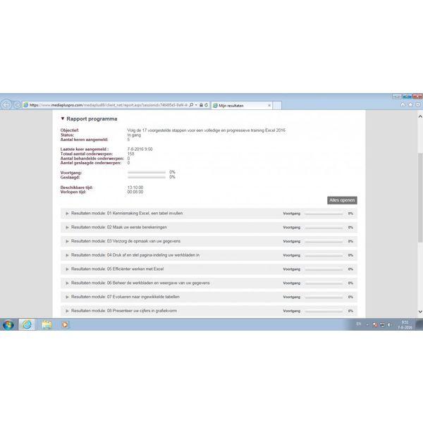Excel ELEARNING CURSUSPAKKET EXCEL 2016 BASIS/GEVORDERD/EXPERT ONLINE INCL. CURSUSBOEK