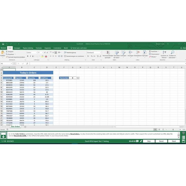 Excel GMETRIX MOS 77-728 EXCEL 2016 EXPERT PROEFEXAMEN