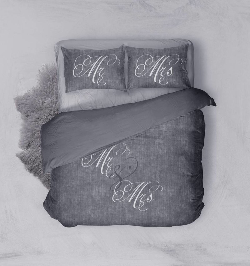 Nightlife Blue Bettwäsche Love Couple Dunkelgrau