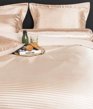 Nightlife Silk Bettwäsche Satin Stripe Braun