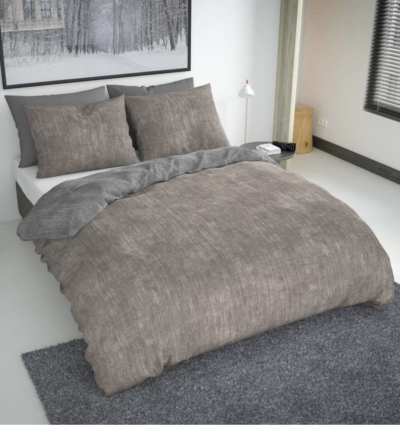 Nightlife Fresh Bettwäsche Washcotton Taupe Grau Flanell