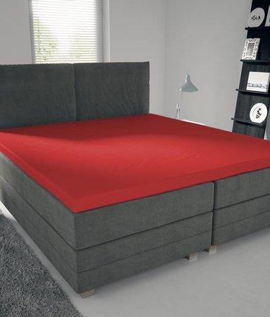 Nightlife Jersey Topper Bettlaken / Spannbetttuch 150 gramm Rot