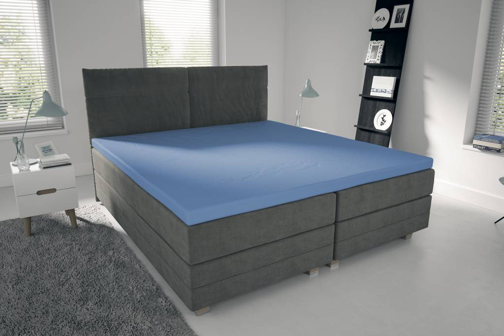 jersey topper bettlaken spannbetttuch 150 gramm blau nightlifeliving. Black Bedroom Furniture Sets. Home Design Ideas