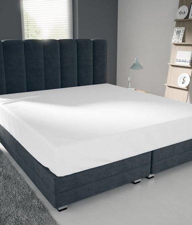 Nightlife Blue Bettlaken / Spannbettuch Doppel Jersey Interlock Weiss