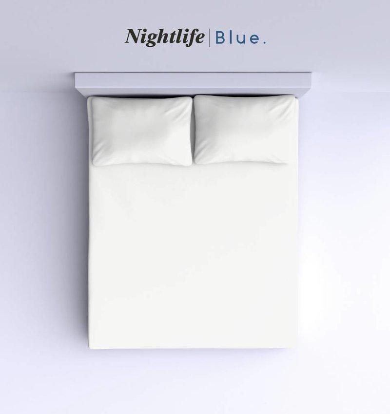 Nightlife Blue Bettlaken / Spannbettuch Doppel Jersey Interlock Ecru