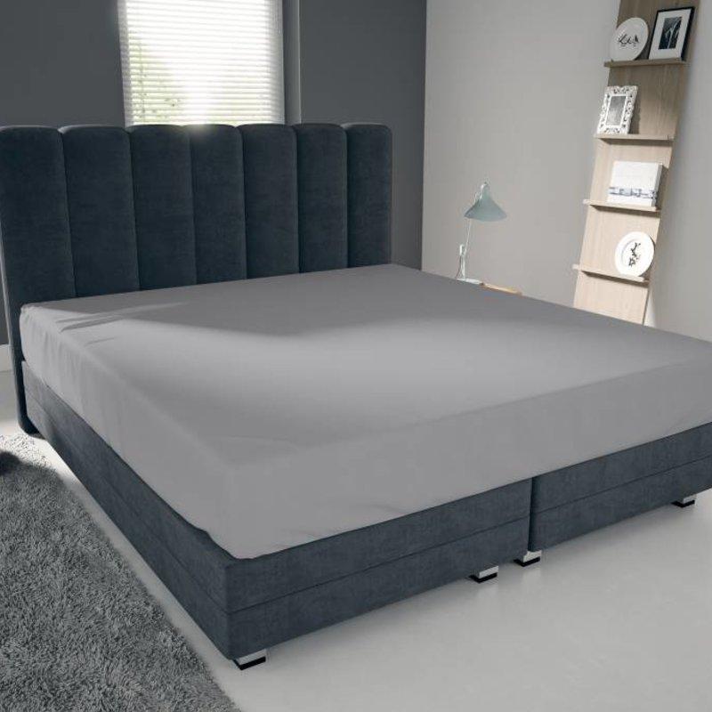 Nightlife Blue Bettlaken / Spannbettuch Doppel Jersey Interlock Grau