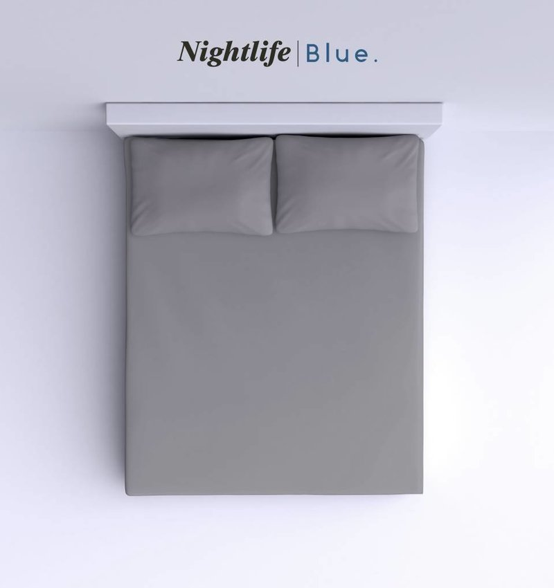 Nightlife Blue Bettlaken / Spannbettuch Doppel Jersey Interlock Grau