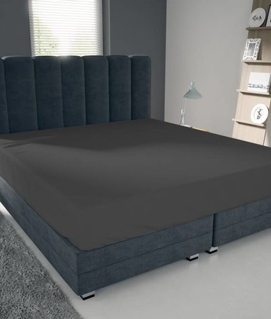 Nightlife Blue Bettlaken / Spannbettuch Doppel Jersey Interlock Dunkelgrau