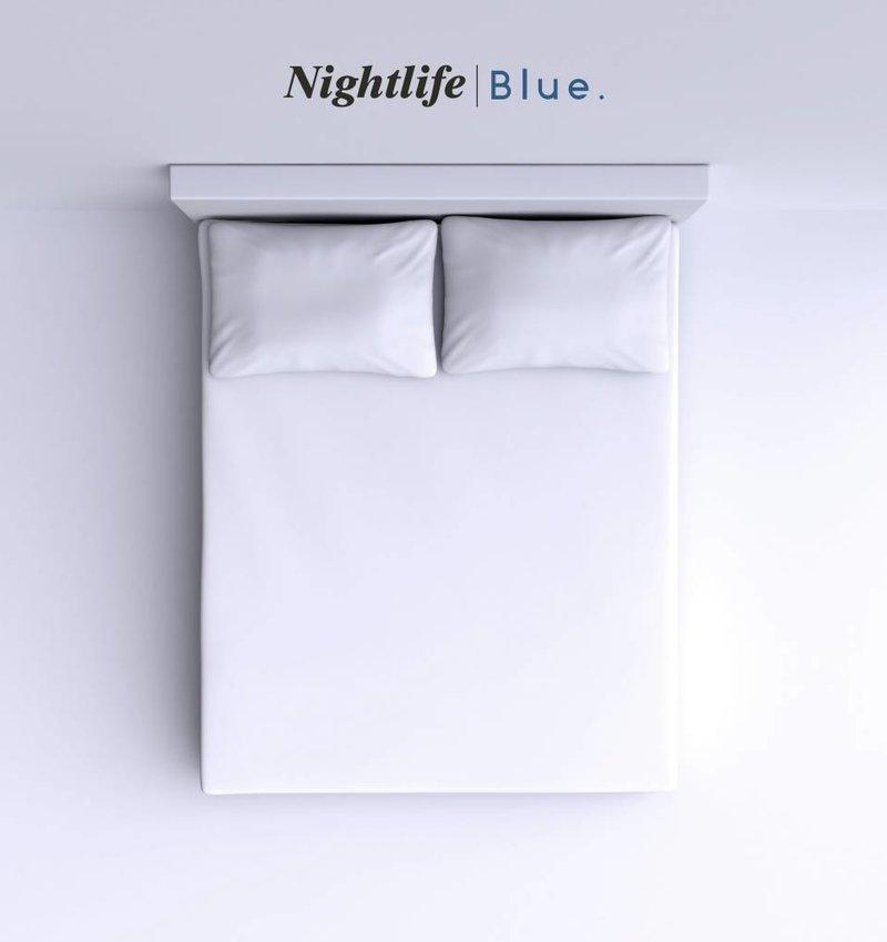 Nightlife Blue Bettlaken / Spannbettuch Doppel Jersey Interlock Weiss Topper