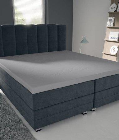Nightlife Blue Bettlaken / Spannbettuch Doppel Jersey Interlock Grau Topper