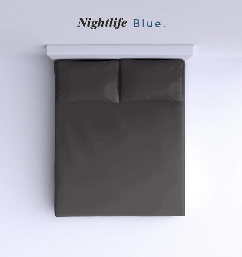 Nightlife Blue Bettlaken / Spannbettuch Doppel Jersey Interlock Dunkelgrau Topper
