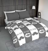 Wake-Up! Bedding Bettwäsche Lips and Mustache - DE - 135x200 - 80x80 (1) mit Reissverschluss