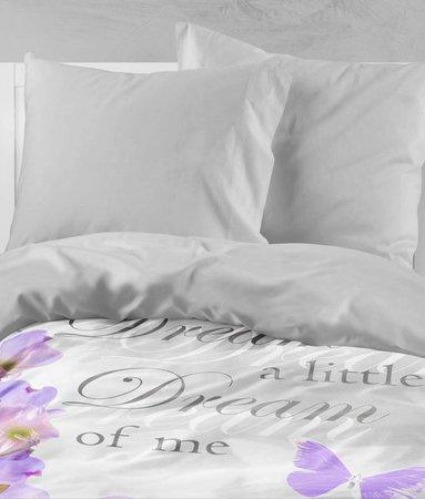 Nightlife Bettwäsche Floral Butterfly Violett - DE - 135x200 - 80x80 (1) mit Reissverschluss