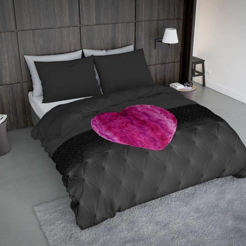 Nightlife Concept Bettwäsche Fur Heart Fuchsia Rosa  - DE - 135x200 - 80x80 (1) mit Reissverschluss