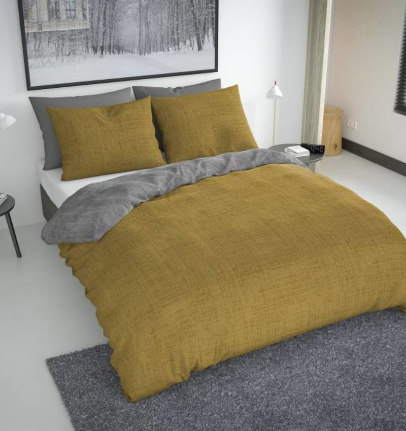 Nightlife Bettwäsche Washcotton Ockergelb Grau  - DE - 135x200 - 80x80 (1) mit Reissverschluss