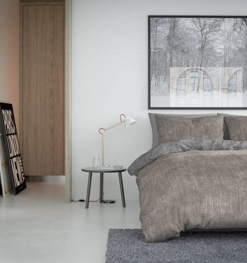Nightlife Bettwäsche Washcotton Braun Grau  - DE - 135x200 - 80x80 (1) mit Reissverschluss