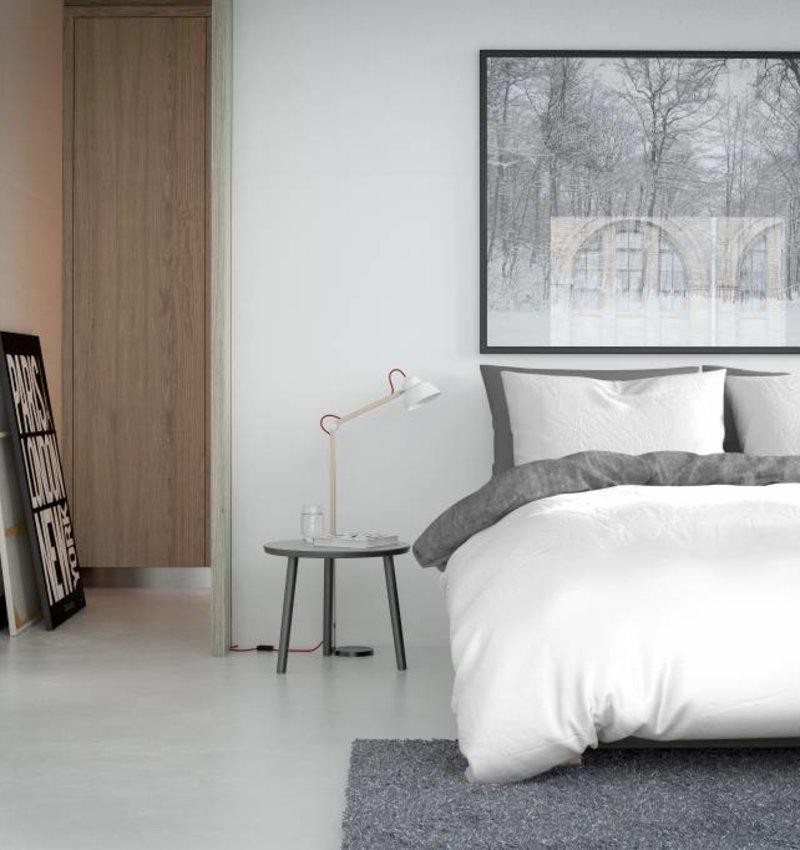 Nightlife Fresh Bettwäsche Washcotton Weiss Grau Flanell - DE - 135x200 - 80x80 (1) mit Reissverschluss - 135x200