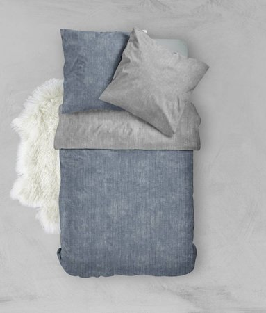 Nightlife Fresh Bettwäsche Washcotton Blau Gau Flanell - DE - 135x200 - 80x80 (1) mit Reissverschluss - 135x200