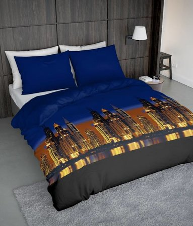 Wake-Up! Bedding Bettwäsche Skyline Colorful - DE - 135x200 - 80x80 (1) mit Reissverschluss