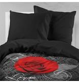 Nightlife Bettwäsche Rose Mit Barok Schwarz und Rot - DE - 135x200 - 80x80 (1) mit Reissverschluss