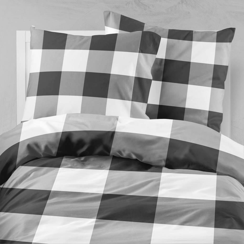 bettw sche check dunkelgrau de 80x80 mit reissverschluss nightlifeliving. Black Bedroom Furniture Sets. Home Design Ideas