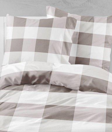 Wake-Up! Bedding Bettwasche Check Braun - 80x80 mit Reissverschluss