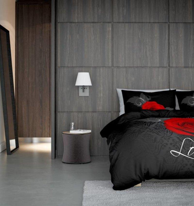 Nightlife Concept Bettwäsche Roos Met Barok Schwarz und Rot 140x200/220 60x70 (1)