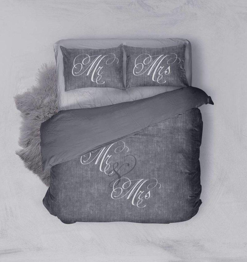Nightlife Blue Bettwäsche Love Couple Dunkelgrau 140x200/220 60x70 (1)
