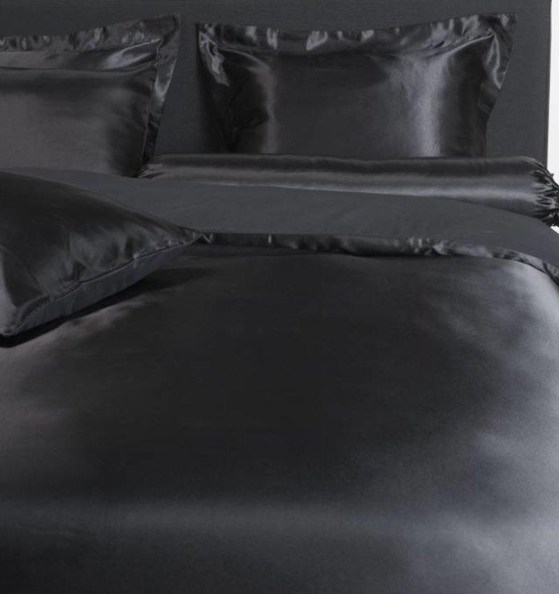 Nightlife Silk Bettwäsche Satin Uni Schwarz 140x200/220 60x70 (1)