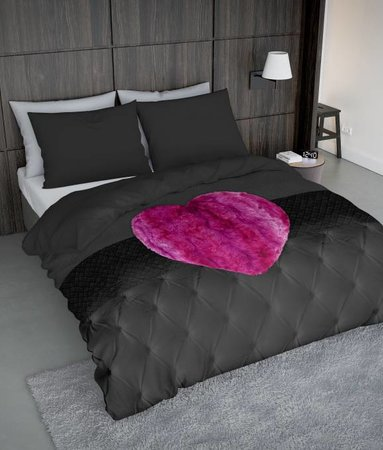 Nightlife Concept Fur Heart Fuchsia Rosa 200x200 80x80 (2) mit Reissverschluss