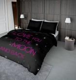 Nightlife Concept Bettwäsche Lovemoon Neon Rosa 200x200 80x80 (2) mit Reissverschluss