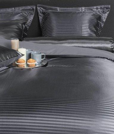 Nightlife Silk Satin Stripe Dunkelgrau 200x200 80x80 (2) mit Reissverschluss