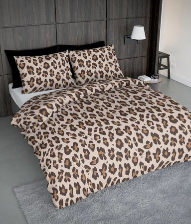 Wake-Up! Bedding Leopard Brown 200x200 80x80 (2) mit Reissverschluss