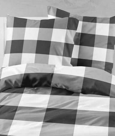 Wake-Up! Bedding Check Dunkelgrau 200x200 80x80 (2) mit Reissverschluss
