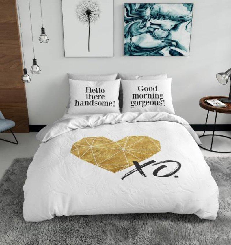 Nightlife Blue Bettwäsche Gold Heart - DE