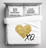 Nightlife Blue Bettwäsche Gold Heart 140x200/220 60x70 (1)