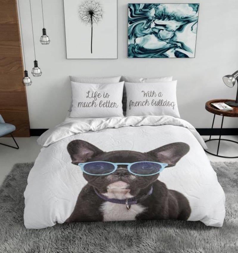 Nightlife Blue Bettwäsche French Bulldog 240x200/220 60x70 (2)