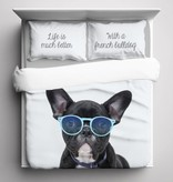 Nightlife Blue Bettwäsche French Bulldog 260x200/220 60x70 (2)
